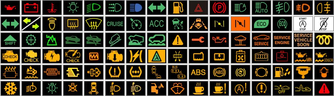 piktogramy i kontrolki w samochodach